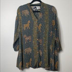 Horse Print Button Down Shirt